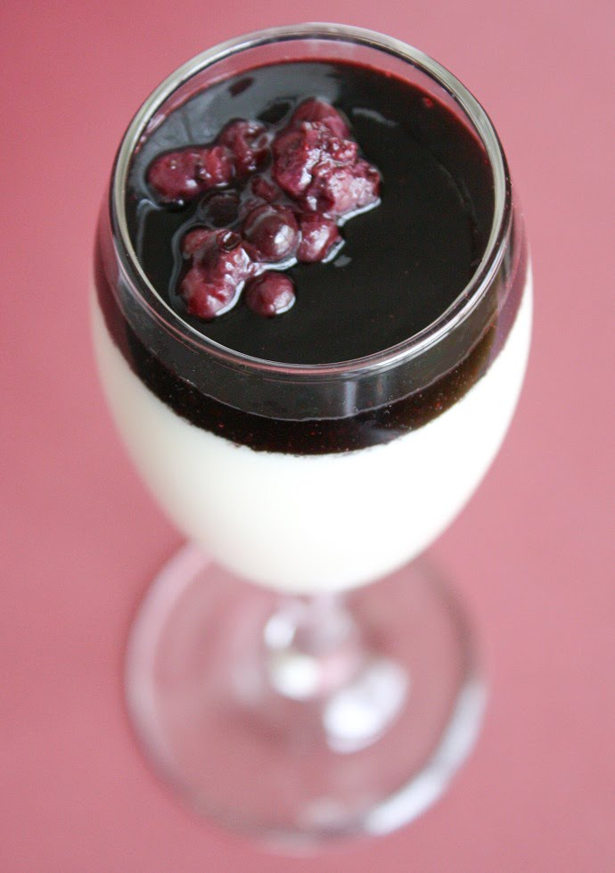 Coconut Panna Cotta with Berry-Red Wine Reduction