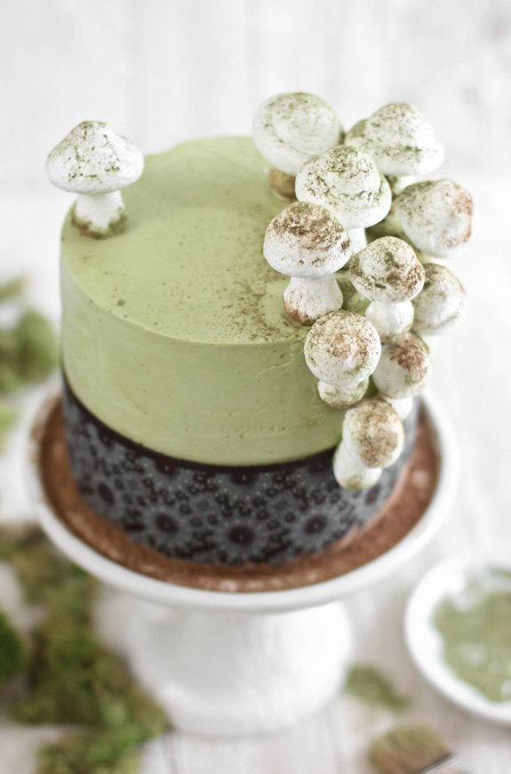 Matcha-Almond Layer Cake with Meringue Mushrooms