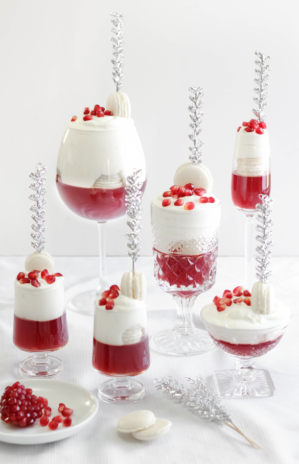 Macaron-Pomegranate Gelée Spritzers