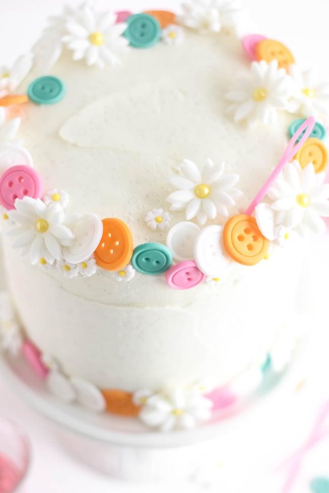 White Almond Sour Cream Cake with Vanilla Bean Frosting