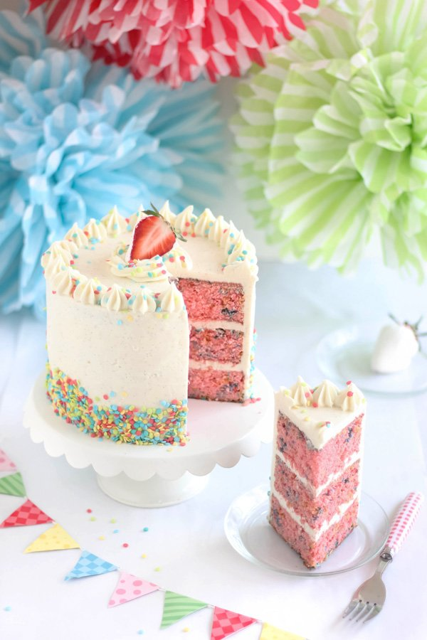 Strawberry Confetti Cake with Tahitian Vanilla Bean Swiss Buttercream