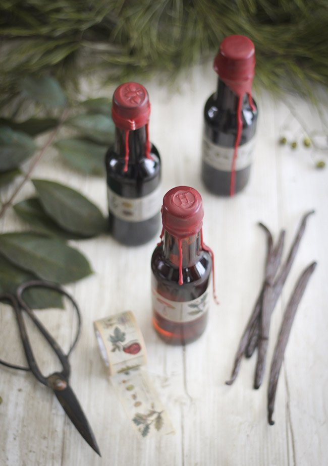 Homemade Vanilla Extract with Wax Sealed Caps