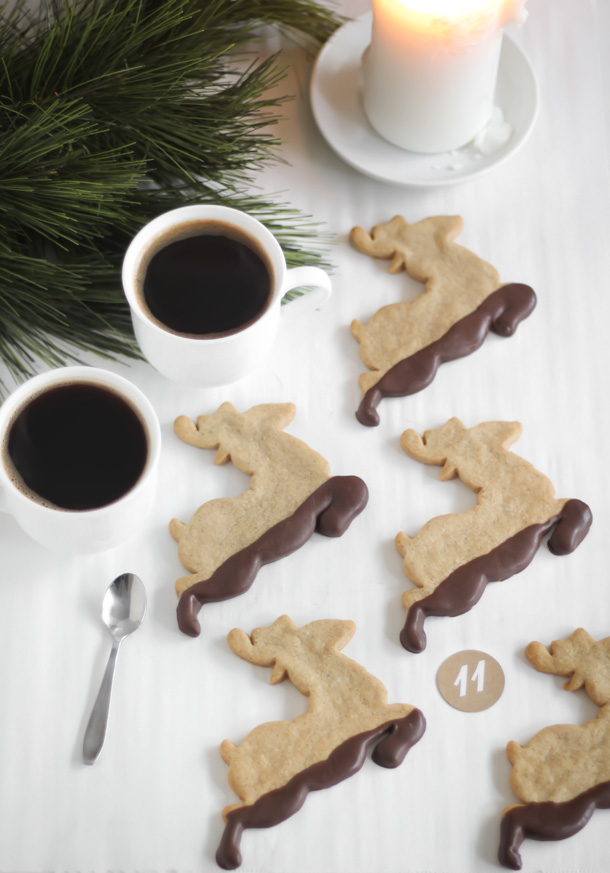 Muddy Reindeer (Chocolate Dipped Gingerbread)