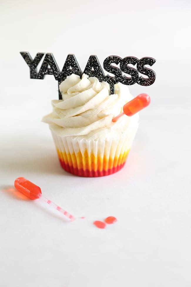 Tropical Vanilla Sunset Cupcakes