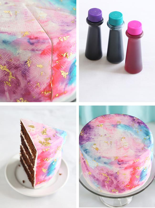 Watercolor Graffiti Chocolate Cake