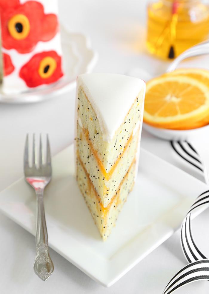 Orange Poppy Seed Marimekko Cake