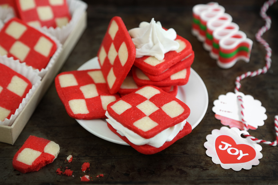 Peppermint Checkerboard Sandwich Cookies