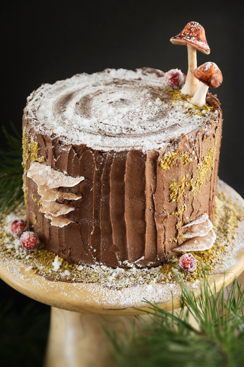 Mulled Wine Chocolate Cake with Black Cherry Buttercream Filling