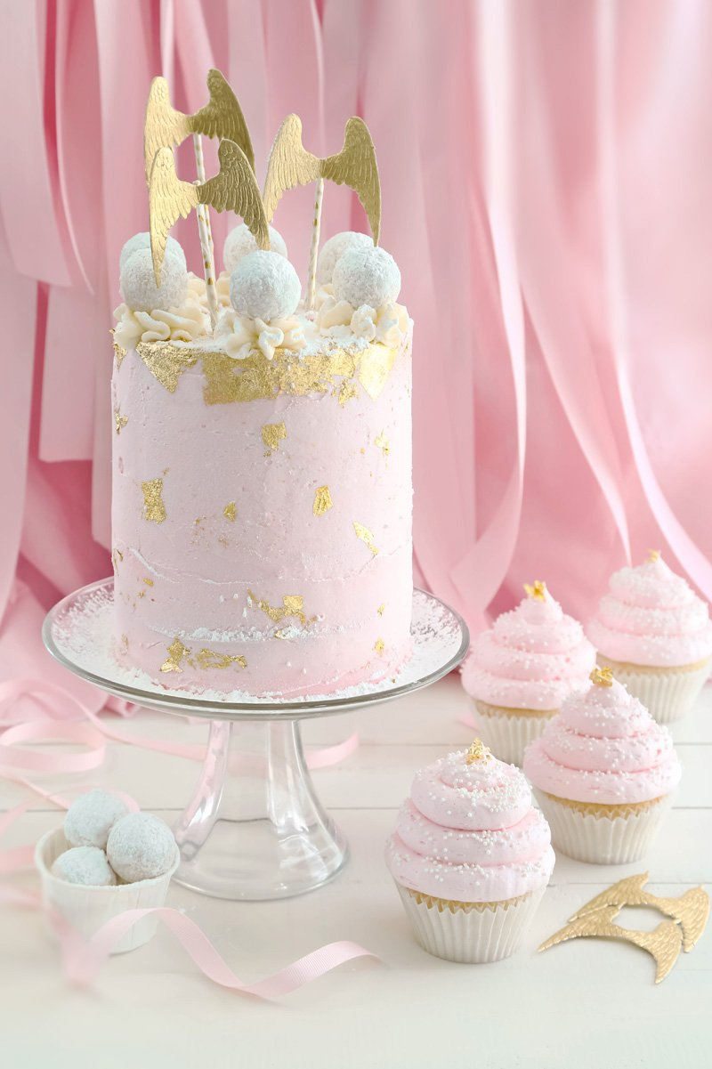 Pink Champagne and Gold leaf Layer Cake and Cupcakes