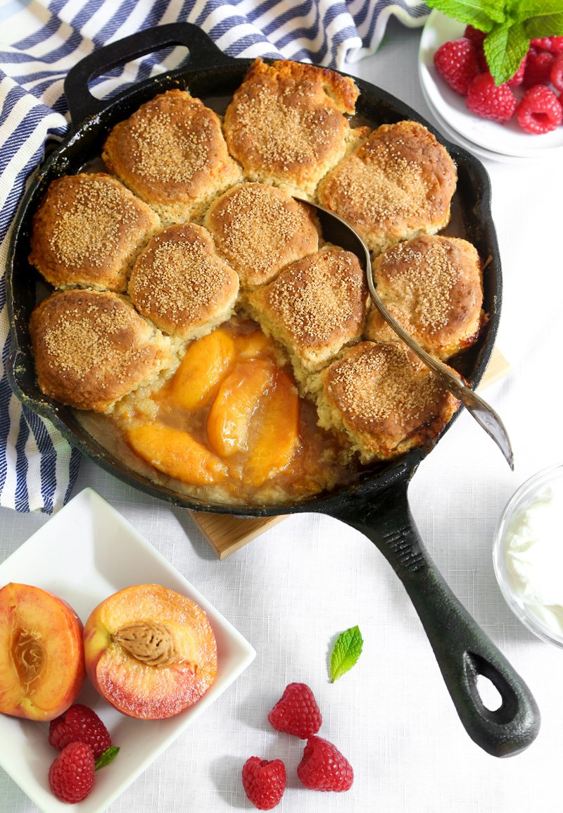 Skillet Peach Cobbler with Biscuit Crust