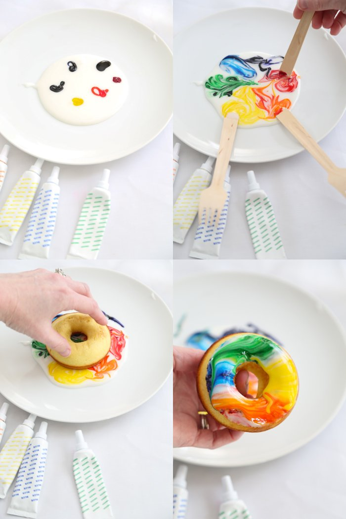 Baked Lemon Tie Dye Doughnuts