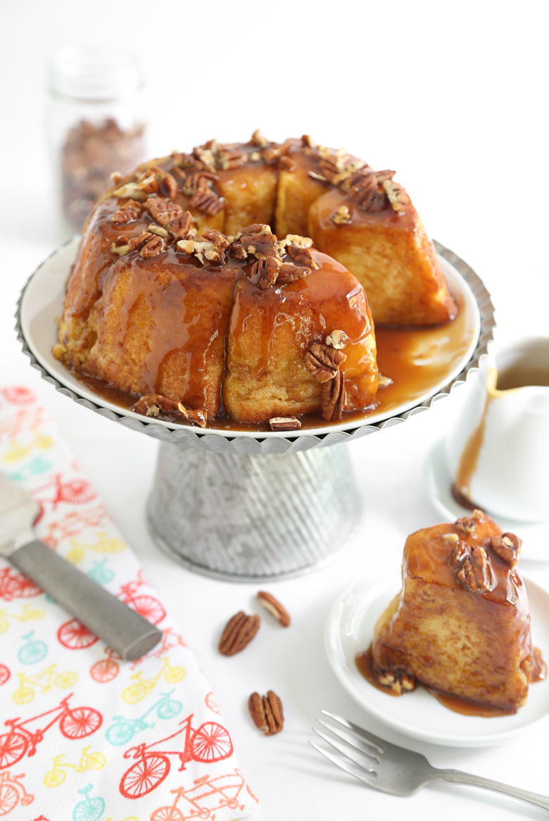 Caramel Pecan French Toasted Angel Food Cake