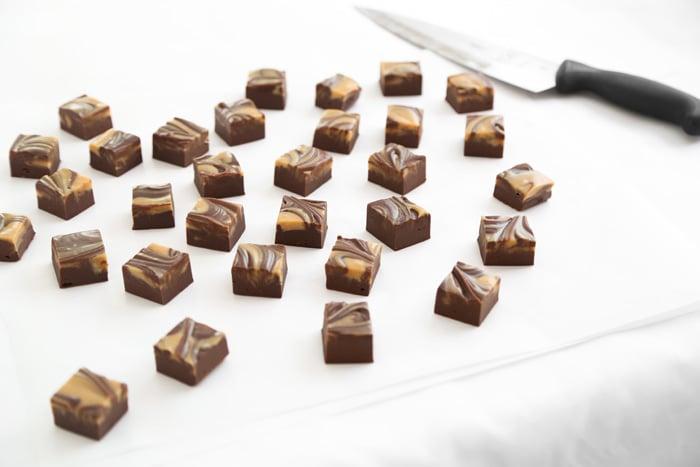 Easy Chocolate Peanut Butter Swirl Fudge