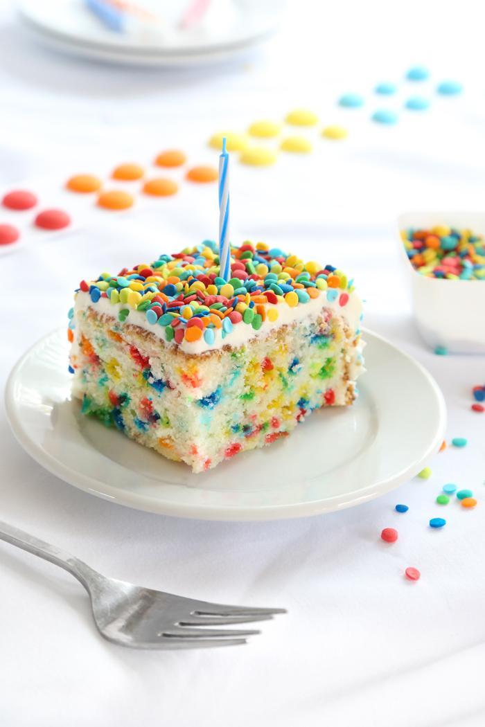 Bottle of Sprinkles Cake (Funfetti Sheet Cake)