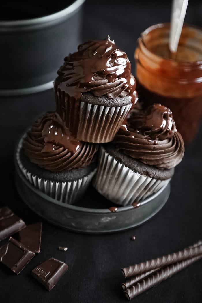 Triple Chocolate Devil's Food Cupcakes