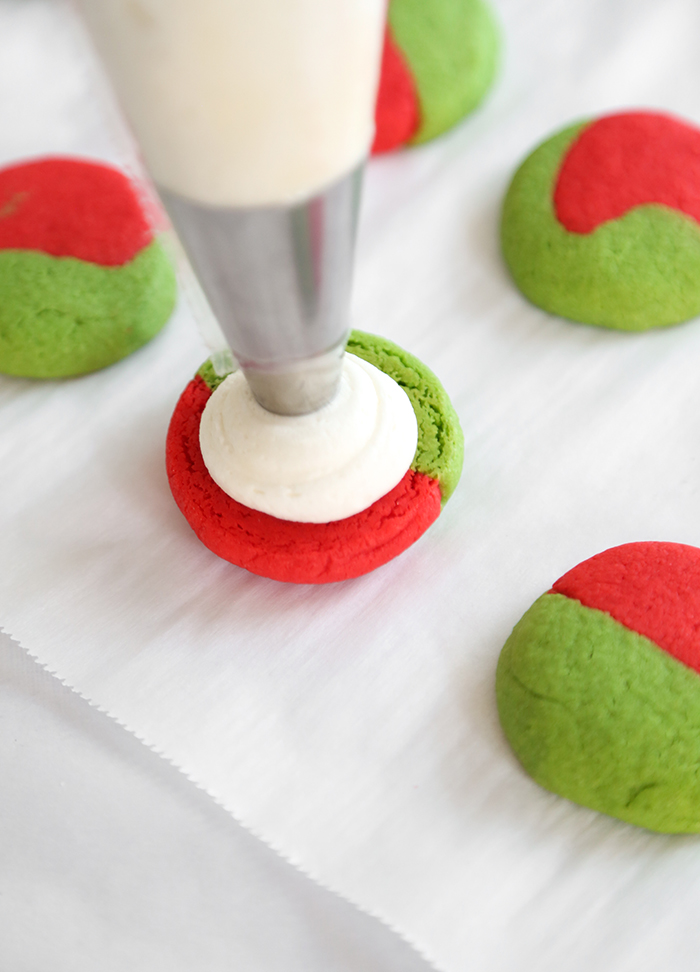 Red and Green Cream Cheese Sugar Cookie Sandwiches
