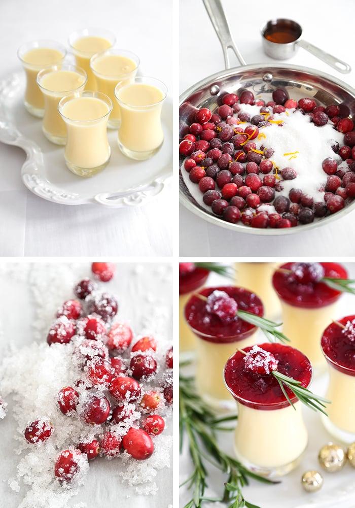 Eggnog Panna Cotta with Spiked Cranberry Sauce