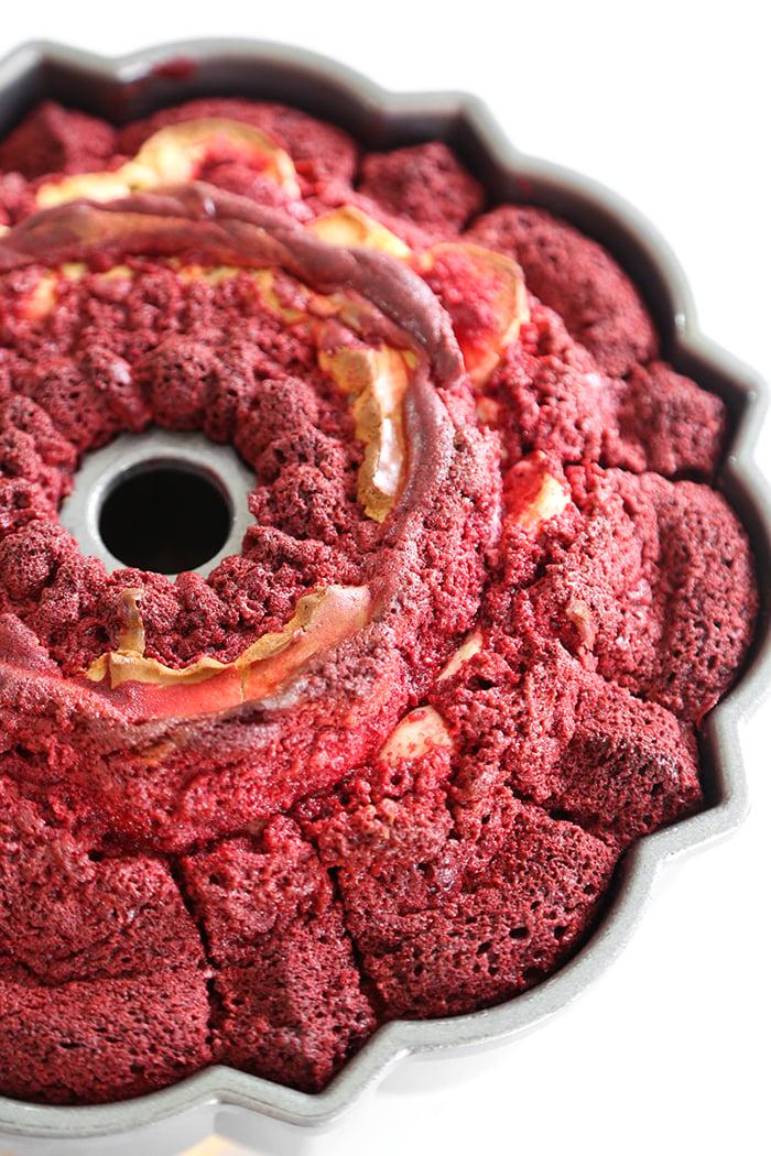 Red Velvet Cream Cheese Swirl Bundt Cake
