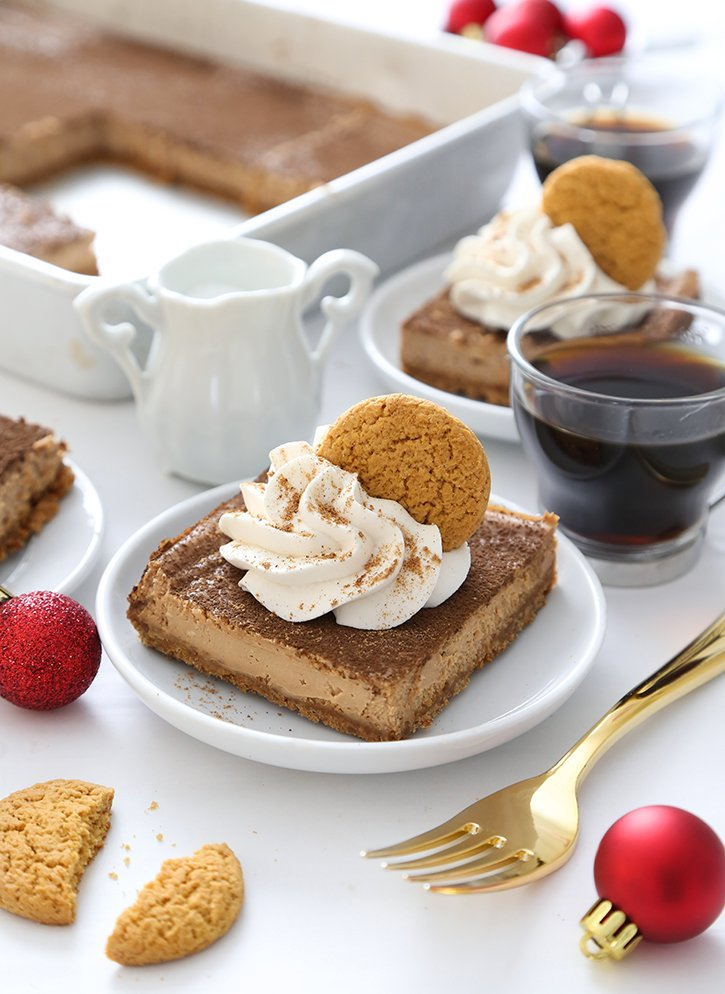 Mocha Latte Cheesecake Bars with Gingersnap Crust