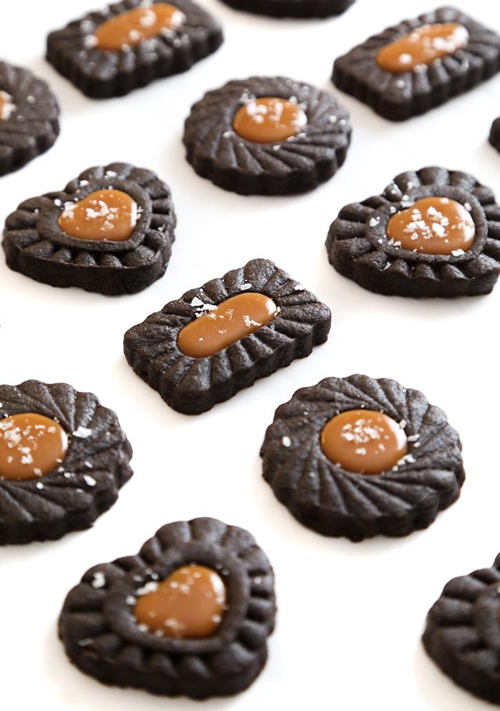 Dark Chocolate Thumbprints with Salted Caramel