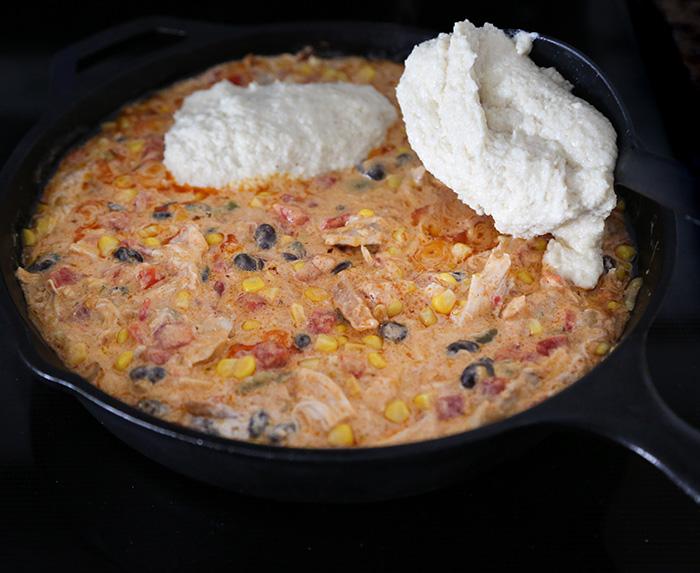 Spicy Southwest Chicken Cornbread Skillet Bake