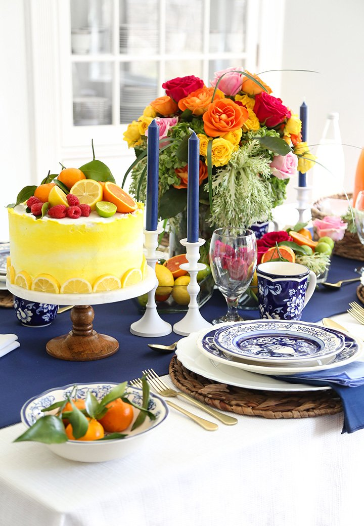 Lemon Syrup Cake and a Colorful Tablescape with The Home Depot