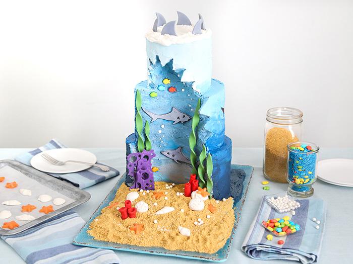 Shark Week Diorama Cake