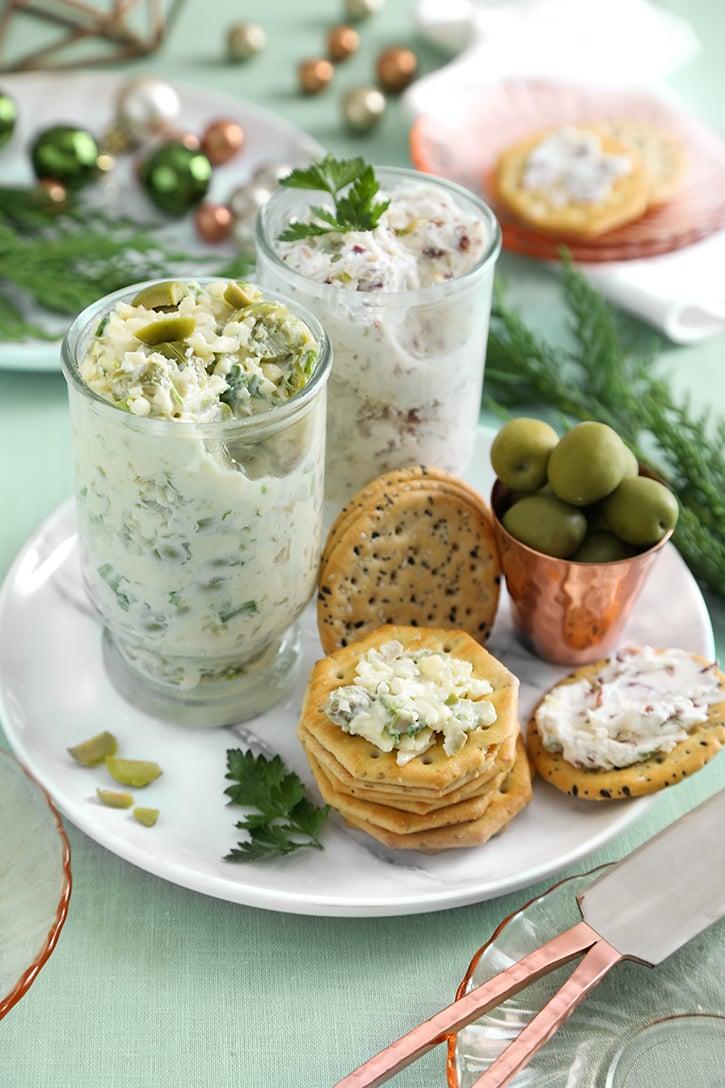 Olive Gouda Spread and Savory Garlic Bacon Spread