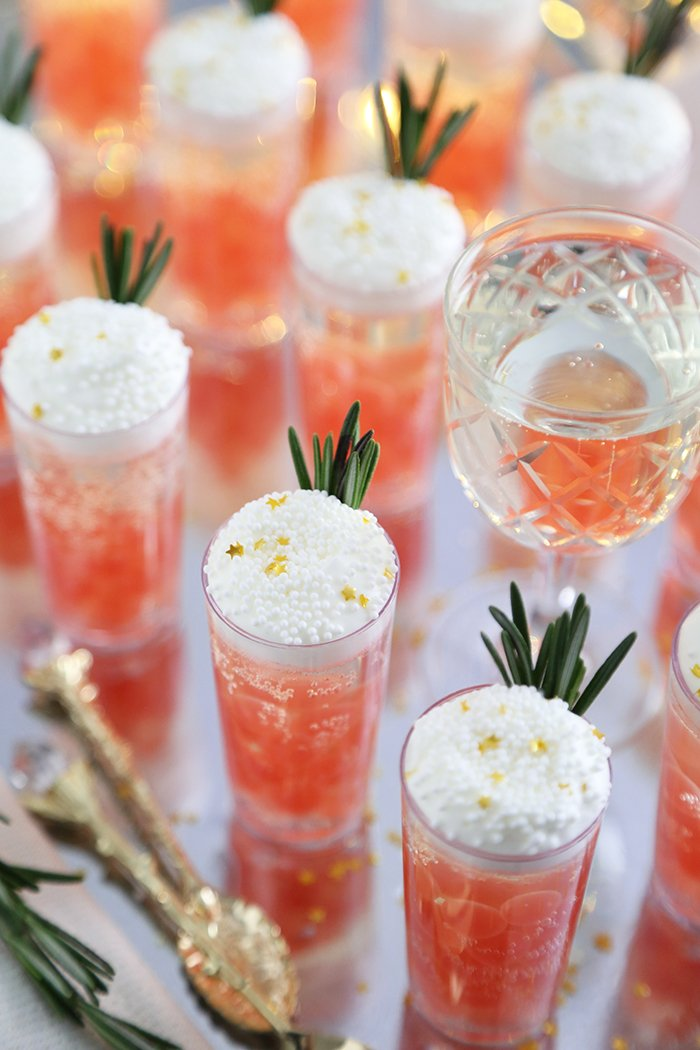 Champagne Jelly Shots with Pomegranate Bursting Boba