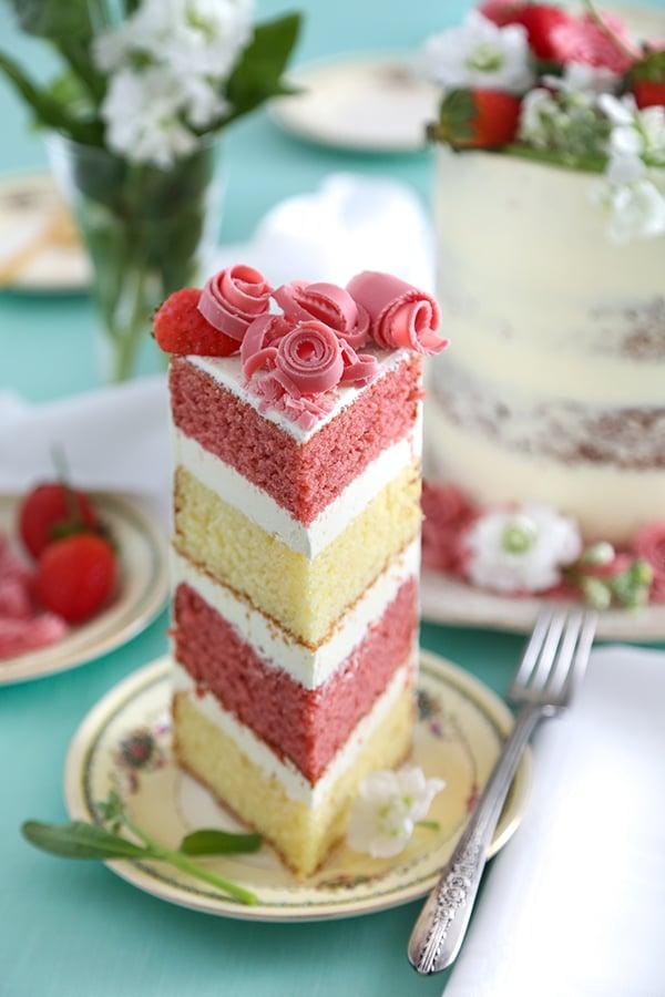 Wild Strawberry and Lemon Verbena Layer Cake