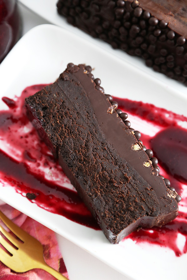 Flourless Chocolate Loaf Cake with Berry Coulis