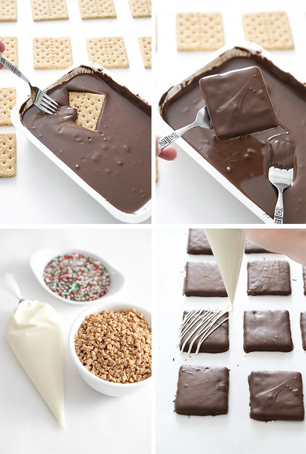 Chocolate Dipped Toffee Graham Crackers