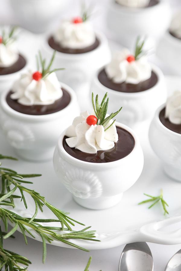 Chocolate Rosemary Pots de Creme