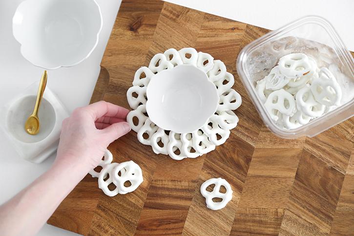 Tiling pretzels on a dessert board