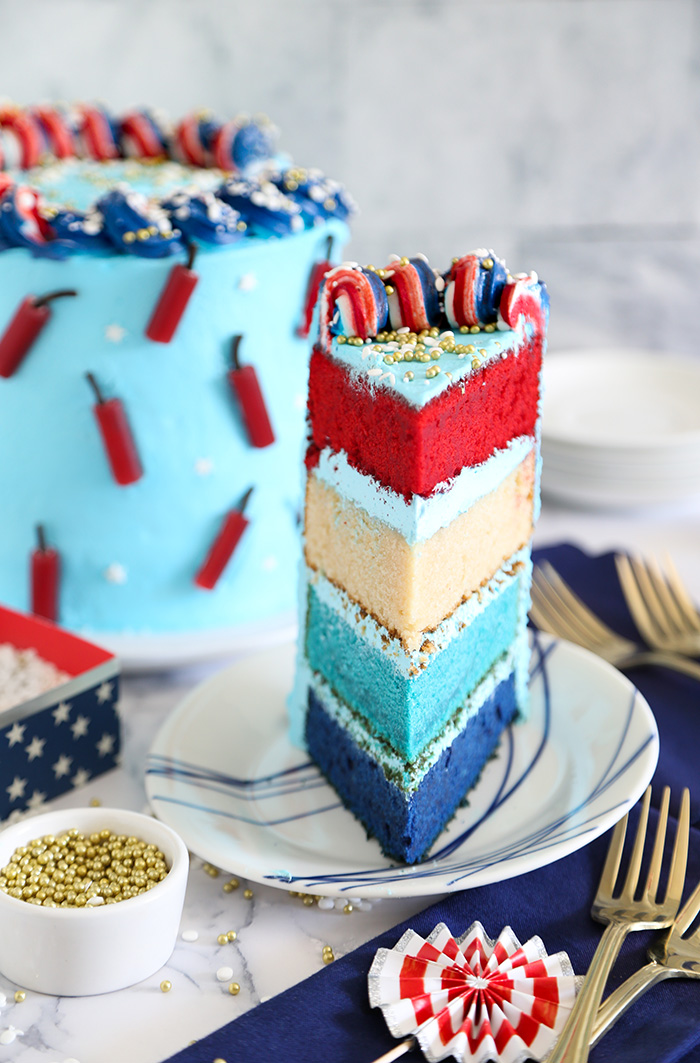 Red White and Blue Firecracker Cake