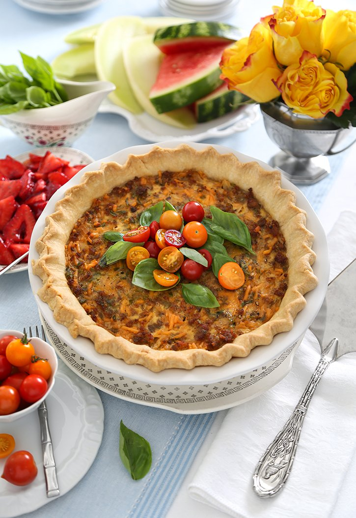 Deep Dish Sausage and Cheese Quiche