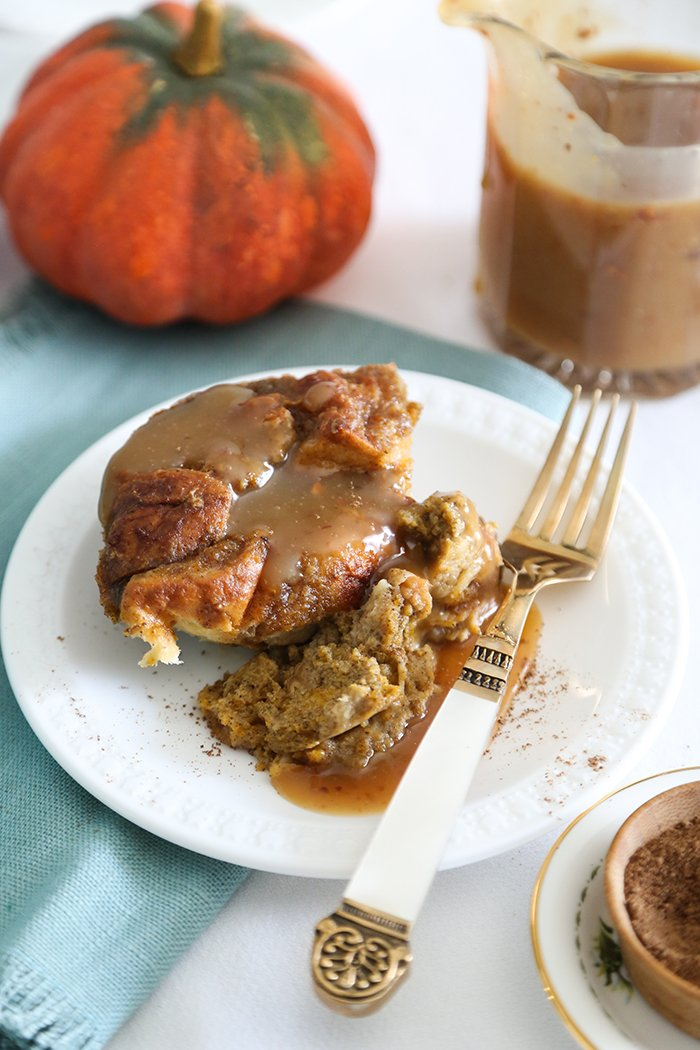 Pumpkin Spice Bread Pudding with Maple Toffee Sauce